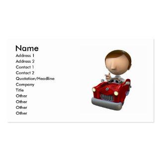 caráter do homem de negócio 3d em um carro vermelh cartoes de visitas