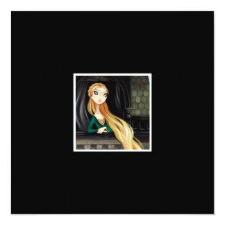 Caráter escuro 2 do conto de fadas - Rapunzel Convite Quadrado 13.35 X 13.35cm