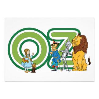 Caráteres e letras de mágico de Oz do vintage Convites Personalizado