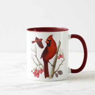 """""""Cardeais"""" na caneca de café selvagem do pássaro"""