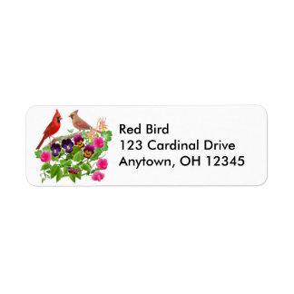 Cardeais na etiqueta do jardim etiqueta endereço de retorno
