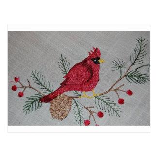 Cardeal bordado cartão postal