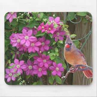 Cardeal com flores - mousepad