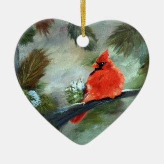 Cardeal do inverno ornamento de cerâmica coração