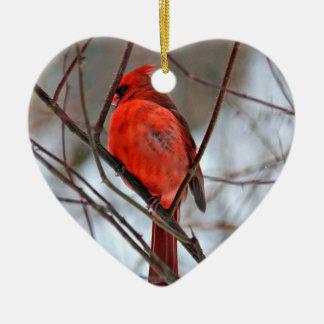 Cardeal do Natal Ornamento De Cerâmica Coração