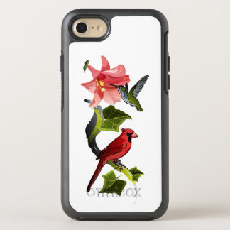 Cardeal e colibri com lírio e a hera cor-de-rosa capa para iPhone 7 OtterBox symmetry