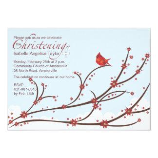 Cardeal em um convite religioso do ramo