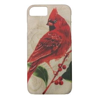 Cardeal em uma árvore de azevinho capa iPhone 7