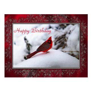 Cardeal na neve cartão de 6243 aniversários