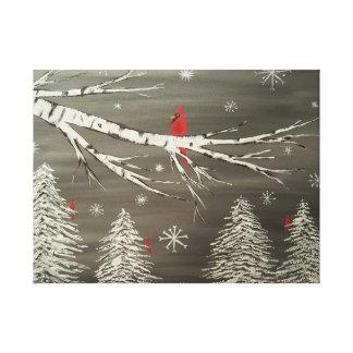 Cardeal no impressão nevado das canvas do vidoeiro