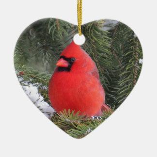 Cardeal Spruce Ornamento De Cerâmica Coração