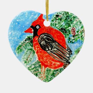 Cardeal vermelho Art2 Ornamento De Cerâmica Coração