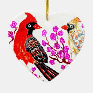 Cardeal vermelho Art3 Ornamento De Cerâmica Coração