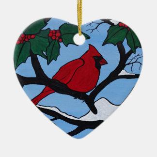 Cardeal vermelho do Natal Ornamento De Cerâmica Coração
