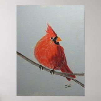 Cardeal vermelho no ramo nos Pastels Pôster