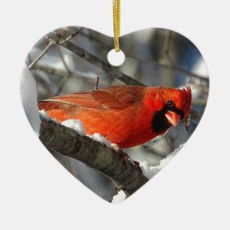 Cardinal Ornamento De Cerâmica Coração