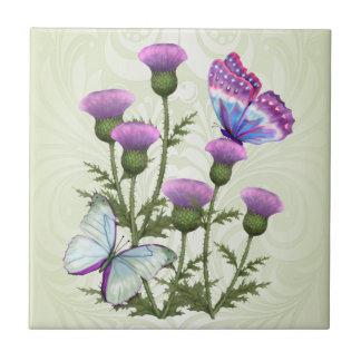 Cardos e borboletas azulejos de cerâmica