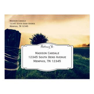 Cargo da cerca do campo do país que Wedding cartão