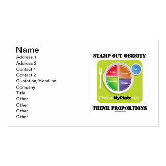 Carimbe para fora a obesidade pensam as proporções modelos cartões de visitas