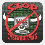 Carimbe para fora a parada Cyberbullying Adesivo Em Forma Quadrada