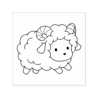 Carimbo Auto Entintado A ram pequena bonito dos carneiros colore-me