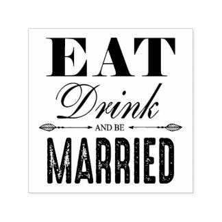 Carimbo Auto Entintado Coma a bebida e seja casamento casado