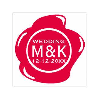 Carimbo Auto Entintado DIY que Wedding o monograma vermelho do selo da
