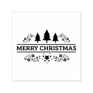 Carimbo Auto Entintado Feliz Natal branco preto