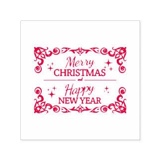 Carimbo Auto Entintado Feliz Natal e o feliz ano novo brancos e vermelhos