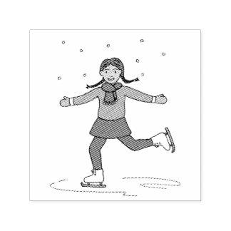 Carimbo Auto Entintado Figura patinador da menina do patinagem no gelo