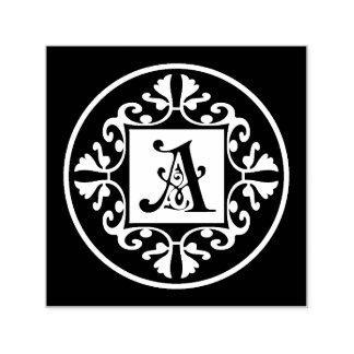 Carimbo Auto Entintado Inicial preto e branco clássica A do monograma