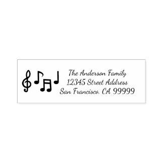 Carimbo Auto Entintado Notas musicais - auto que cobre o selo do endereço