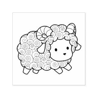 Carimbo Auto Entintado Ram pequena dos carneiros do casaco encaracolado