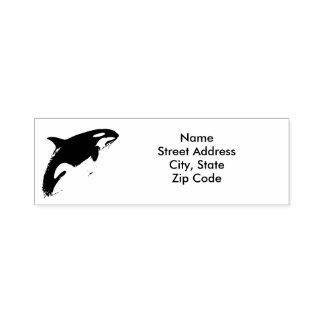 Carimbo Auto Entintado Selo do endereço da orca,