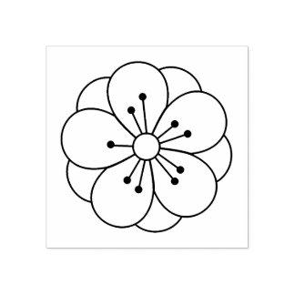 Carimbo De Borracha A flor da flor de cerejeira de Sakura colore-me