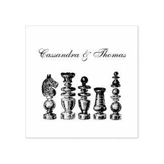 Carimbo De Borracha Arte do vintage das partes de xadrez