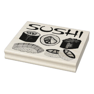 Carimbo De Borracha Atum Foodie de Nigiri do rolo de sushi do