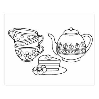 Carimbo De Borracha Bule, Teacups, e página da coloração do bolo