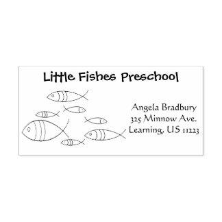 Carimbo De Borracha Desenho da ilustração da natação dos peixes, nome,