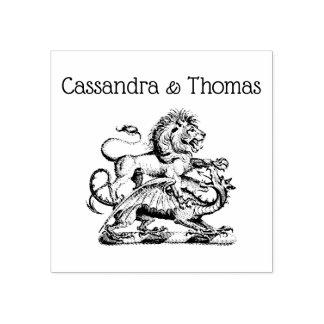 Carimbo De Borracha Emblema heráldico da crista do leão e do dragão