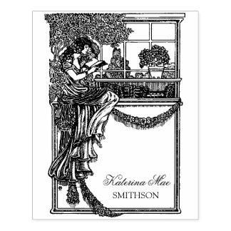 Carimbo De Borracha Etiqueta ex chique feminino de Libris do vintage
