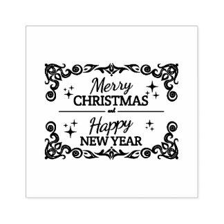 Carimbo De Borracha Feliz Natal e o feliz ano novo brancos e vermelhos