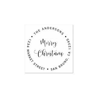 Carimbo De Borracha Feliz Natal & endereço do remetente do nome de