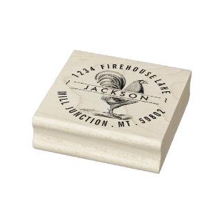 Carimbo De Borracha Galo no selo do endereço do remetente do círculo