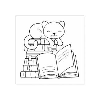 Carimbo De Borracha Gato bonito sobre a pilha de livros - Bookplate