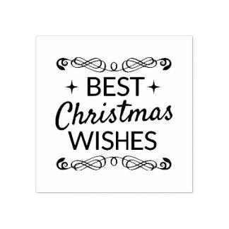 Carimbo De Borracha Melhores desejos preto e branco do Natal