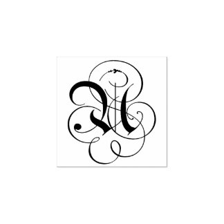 "Carimbo De Borracha Monograma da letra extravagante ""U"""