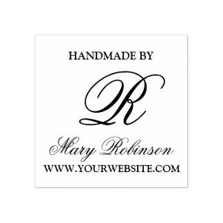 "Carimbo De Borracha Monograma elegante do negócio ""Handmade por """