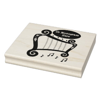 Carimbo De Borracha Monograma preto e branco da harpa
