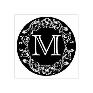 Carimbo De Borracha Monograma quadro floral do círculo